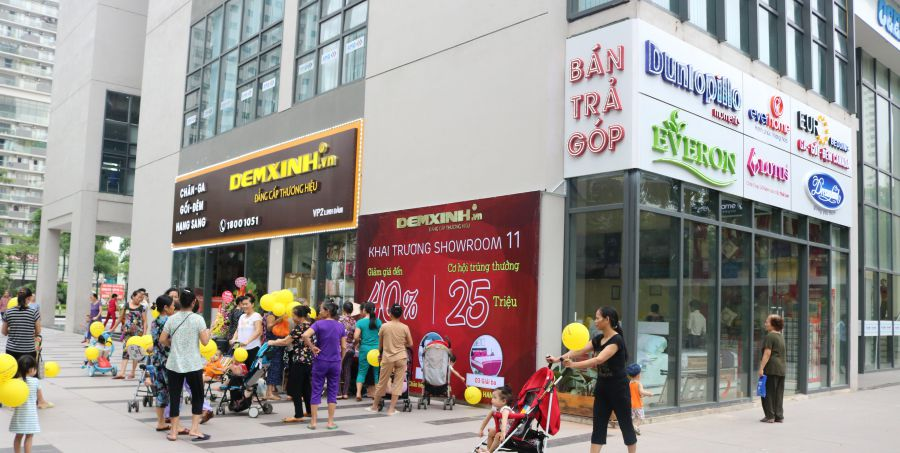 Thi công biển quảng cáo cửa hàng Đệm Xinh, chi nhánh Linh Đàm, Hà Nội