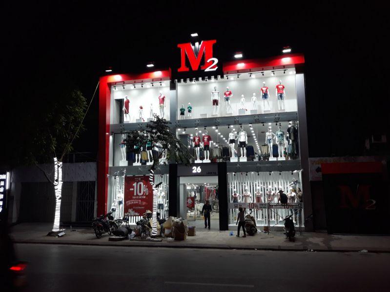 Hoàn thiện biển logo ngoài trời cửa hàng M2 tại 22 Láng Hạ